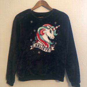Christmas Fleece Sweater Believe Unicorn